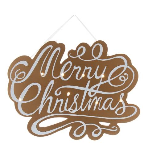Festive Brown/White Battery Operated Lit Merry Christmas Sign 35cm