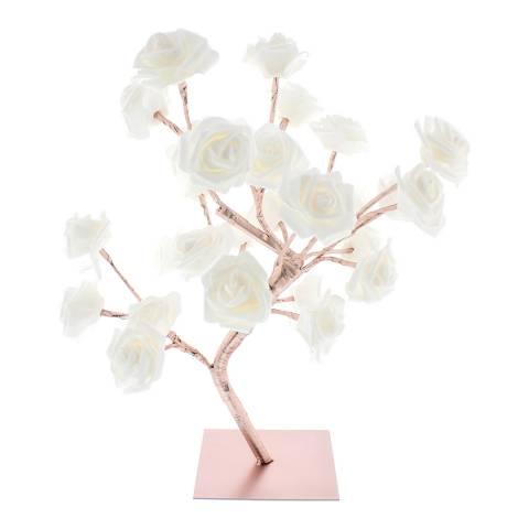 Festive Rose Gold/White Flower Tree 45cm