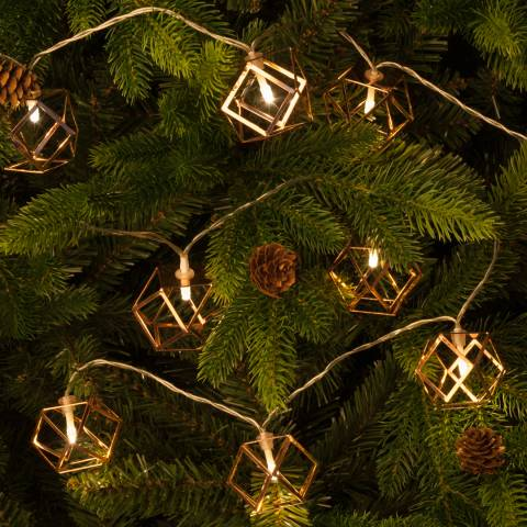 Festive 10 Battery Operated  Geometric Ball Lights 1.6M