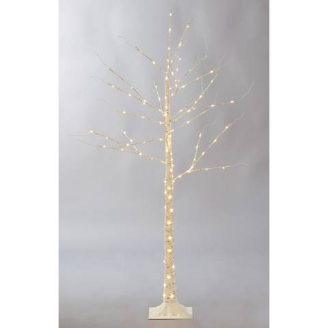 Festive Gold/White 140 Led Silver Birch Dewdrop Tree 150cm