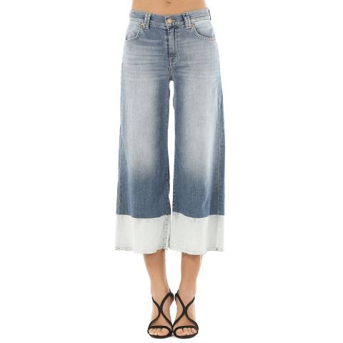 7 For All Mankind Blue Flared Culottes Stretch Jeans