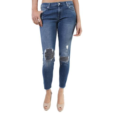 7 For All Mankind  New York Light Denim Skinny Crop Jeanss