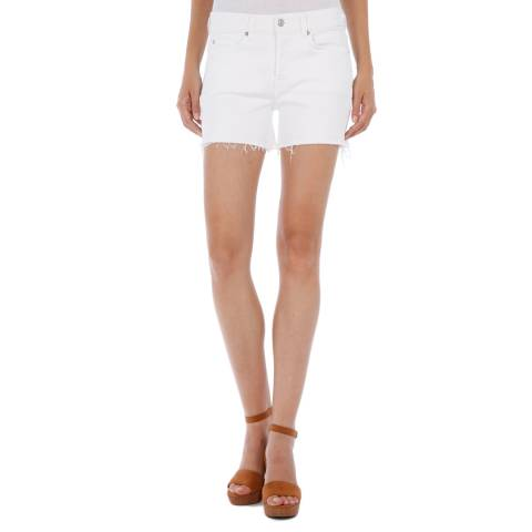 7 For All Mankind Authentic White Raw Cut Shorts