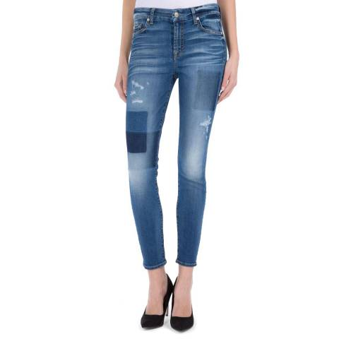 7 For All Mankind Patterned Denim Ankle Skinny Stretch Jeans