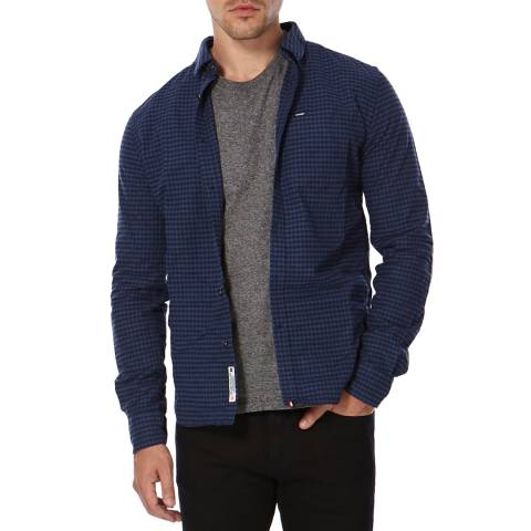 Superdry Blue Check Button Down Cotton Shirt