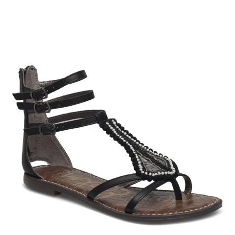 Sam Edelman Black/Brown Leather Blend Garner Beaded Gladiator Sandal