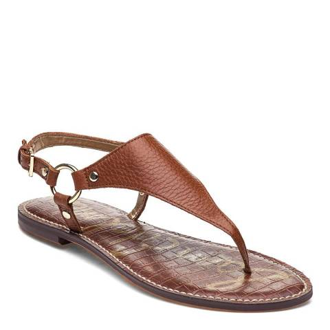 Sam Edelman Brown Leather Blend Greta Thong Sandal