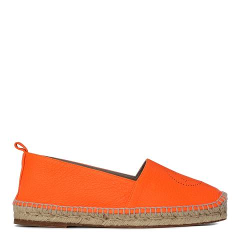 Anya Hindmarch Women's Orange Leather Smiley Espadrilles