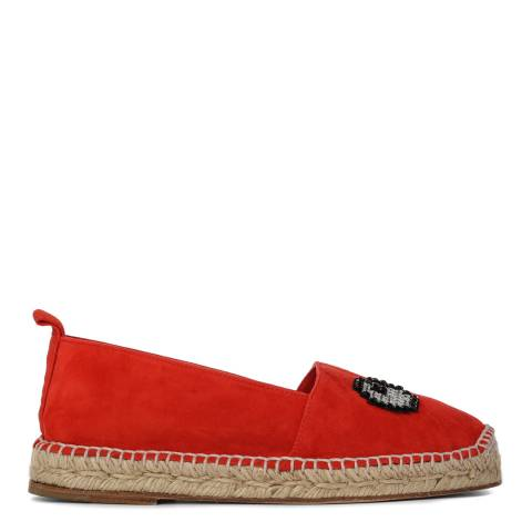 Anya Hindmarch Women's Red Suede Blend Eye Espadrilles