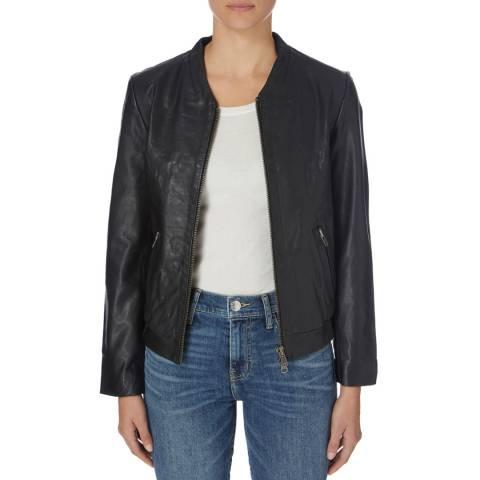 Muubaa Black Steenbras Leather Bomber Jacket