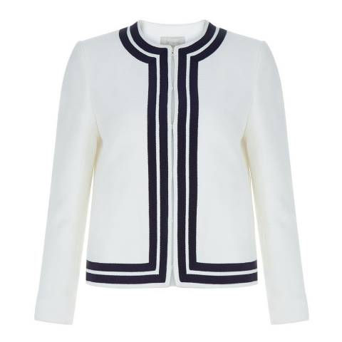 Hobbs London White Navy Cotton Harbour Jacket