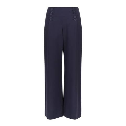 Hobbs London Navy Stretch Gaberdine Keeva Trousers