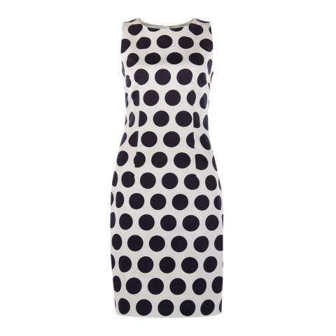 Hobbs London Navy/White Cotton Blend Regan Spot Dress