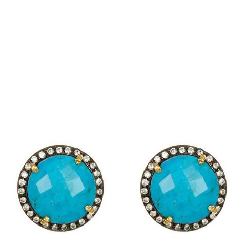 Liv Oliver Gold Turquoise and Cz Stud Earrings