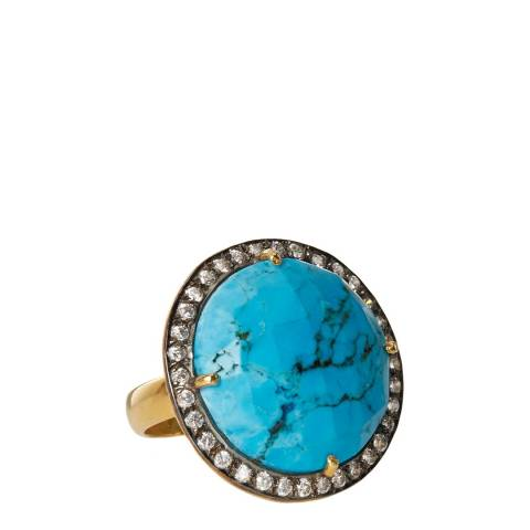Liv Oliver Gold Turquoise and Cz Statement Ring