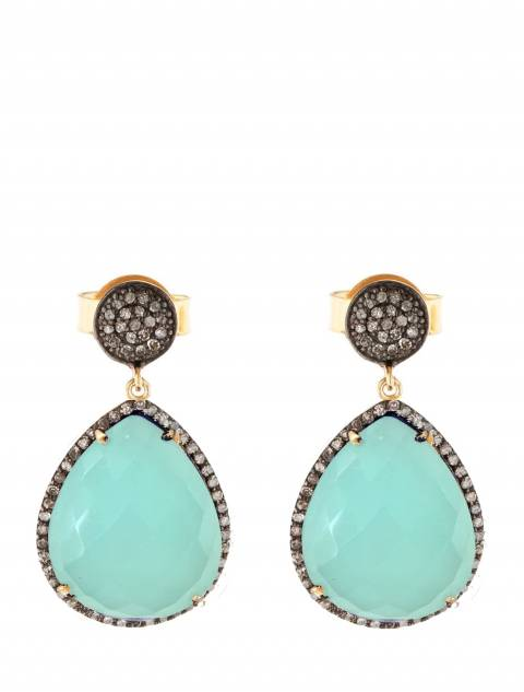 Liv Oliver Gold Sea Green Chalcedony and CZ Per Drop Earrings