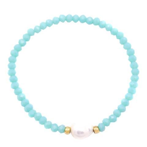 Liv Oliver Gold Aqua Crystal and Pearl Gemstone Bracelet