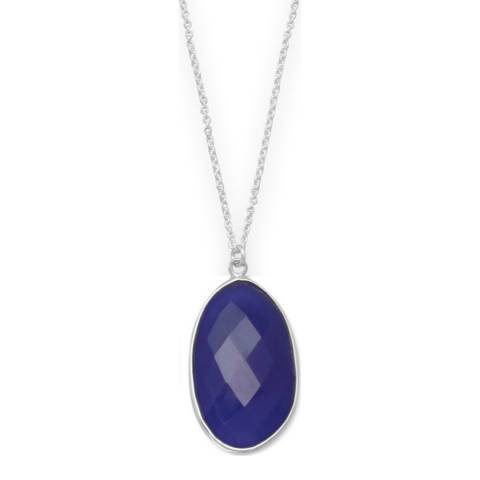 Alexa by Liv Oliver Silver Faceted Dark Blue Chalcedony Pendant