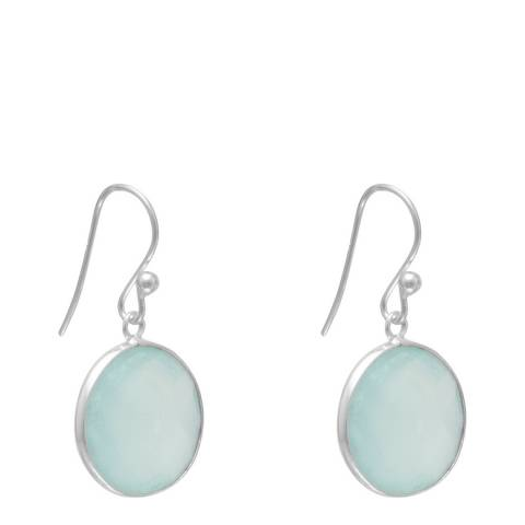 Alexa by Liv Oliver Sterling Silver Sea Green Chalcedony Round Disc Earrings