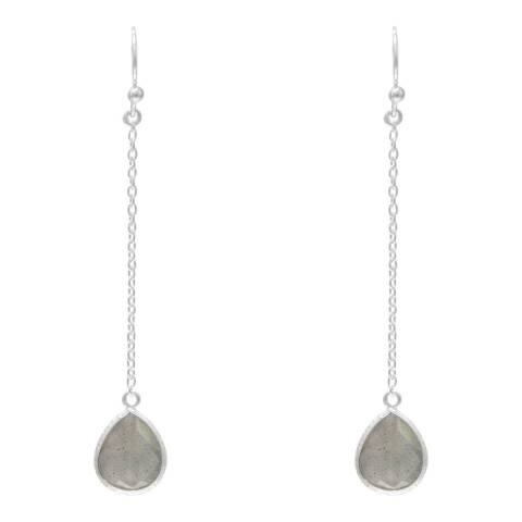 Alexa by Liv Oliver Silver Chain and Labrdaorite Pear Drop Earrings