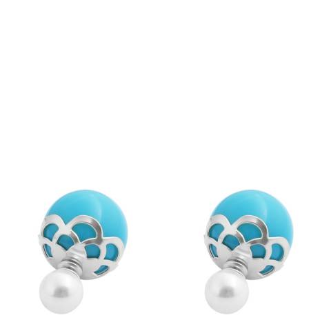 Alexa by Liv Oliver Turquoise And Pearl Silver Double Sided Earrings