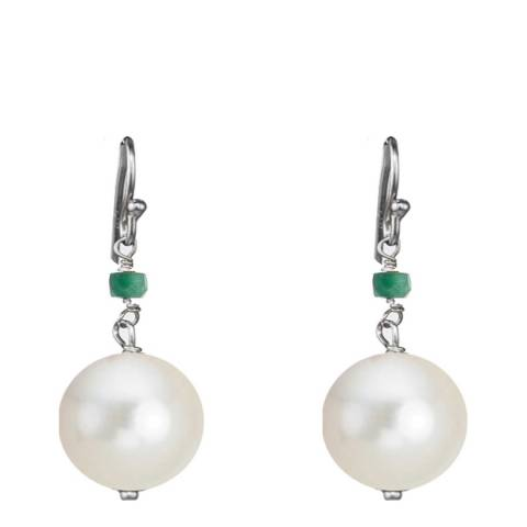Alexa by Liv Oliver Gold Emerald And Pearl Drop Earrings