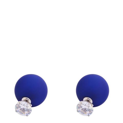 Liv Oliver Turquoise And Pearl Silver Double Sided Earrings