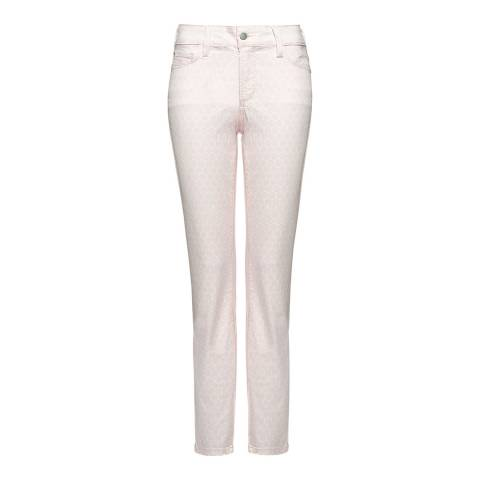 NYDJ Pink Dots Clarissa Ankle Grazer Cotton Stretch Jeans
