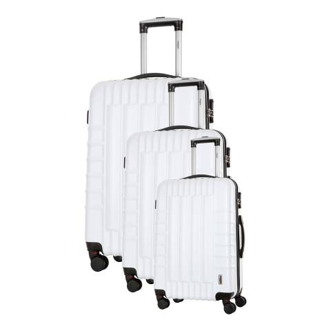 Renoma Set of 3 White 4 Wheel Hunter Suitcases