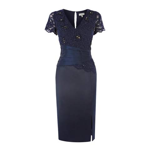 Coast Navy Jeanie Duchess Satin Dress