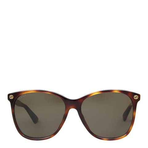 Gucci Women's Havana/Brown Sunglasses 58mm