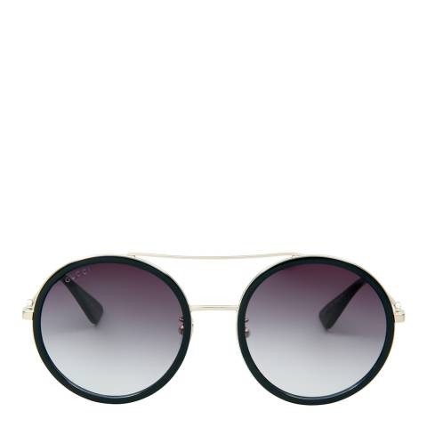 Gucci Women's Black with Gold Arms/Grey Sunglasses 56mm