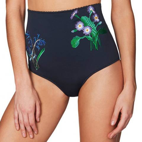 Stella McCartney Ink Blue Embroidery High Waisted Bikini Briefs