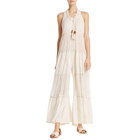 Free People Ivory Beach Bum Cotton Jumpsuit