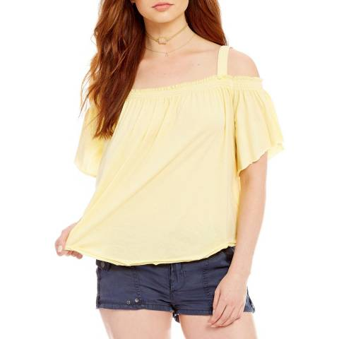 Free People Yellow Darling Off Shoulder Cotton Top