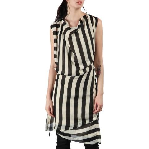 Bolongaro Trevor Ivory/Black Stripe Drape Dress