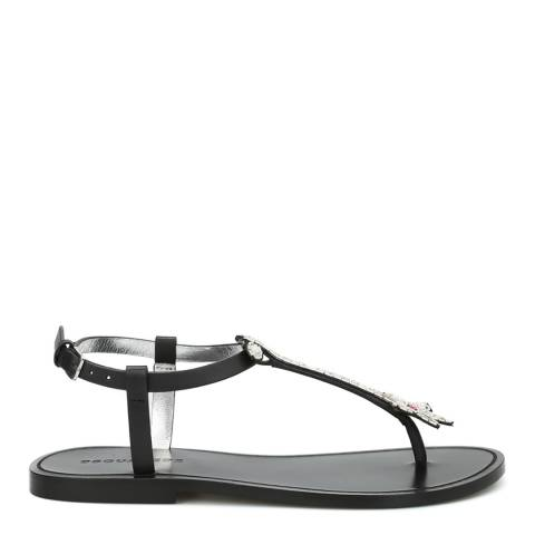 DSquared2 Black Leather 70's Glam Patch Flat Sandals