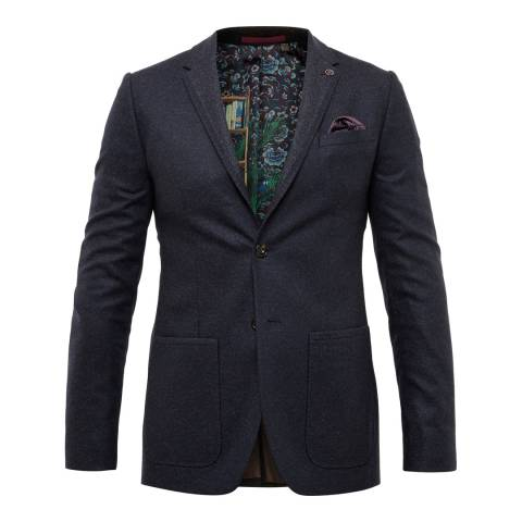 Ted Baker Navy Wool Blend Suit Jacket