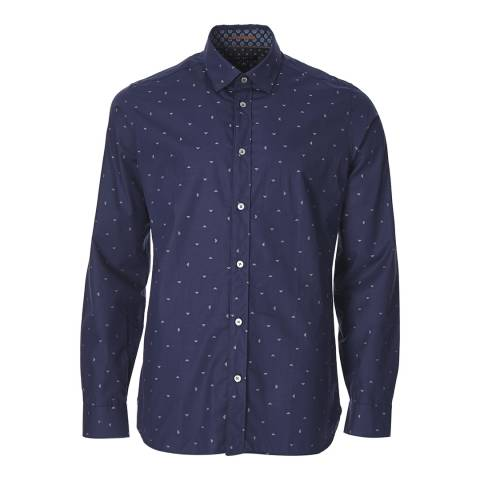 Ted Baker Navy Printed Cotton Shirt