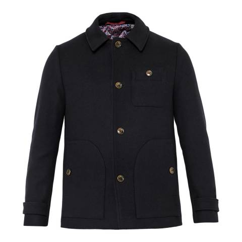 Ted Baker Navy Osmond Patch Pocket Collared Overcoat