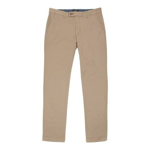 Ted Baker Beige Cotton Slim Fit Chinos