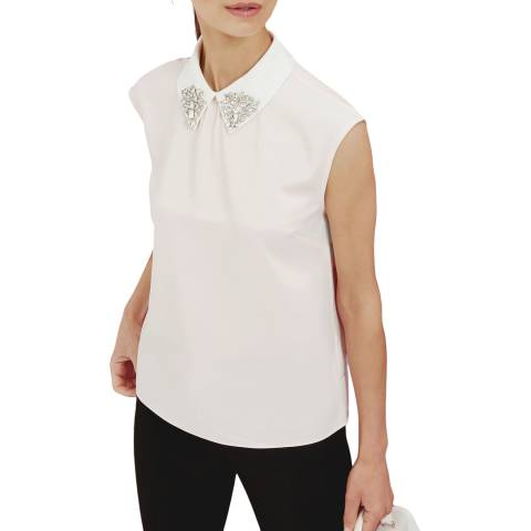 Ted Baker Pale Pink Embellished Collar Top