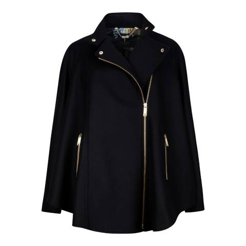 Ted Baker Black Wool and Cashmere Cape Jacket