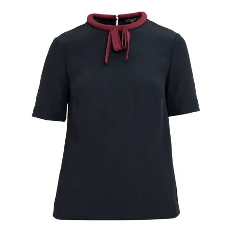 Ted Baker Black/Burgundy Tie Neck Top