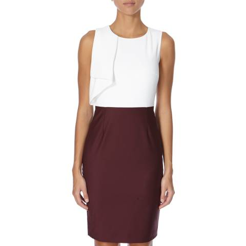 Ted Baker White and Burgundy Frill Pencil Dress