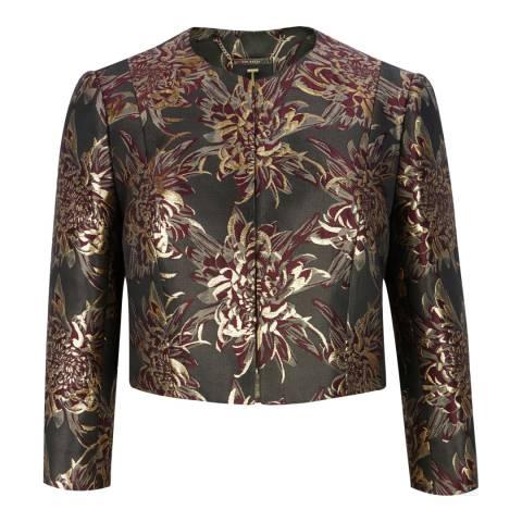Ted Baker Gold Jacquard Cropped Jacket