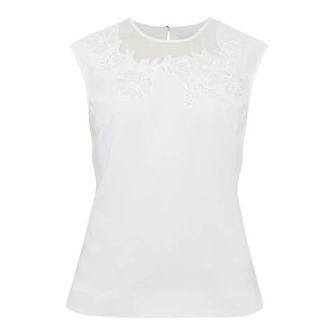 Ted Baker White Embroidered Floral Top