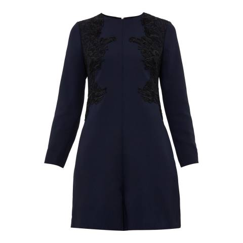 Ted Baker Navy Embroidered Playsuit