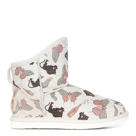 Australia Luxe Collective White Animal Print Shearling Cosy Short Boots