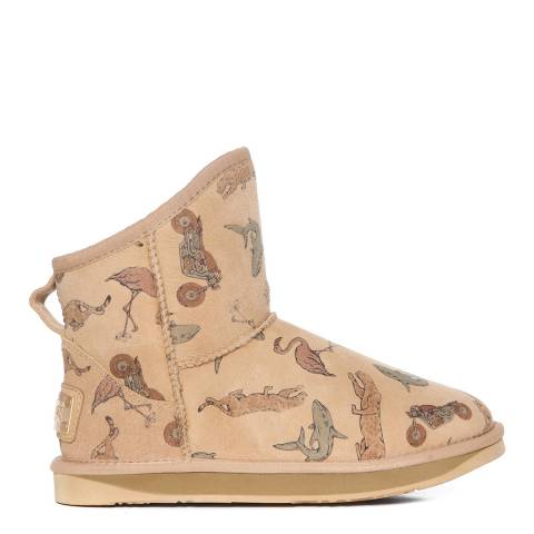 Australia Luxe Collective Beige Animal Print Shearling Cosy Short Boots